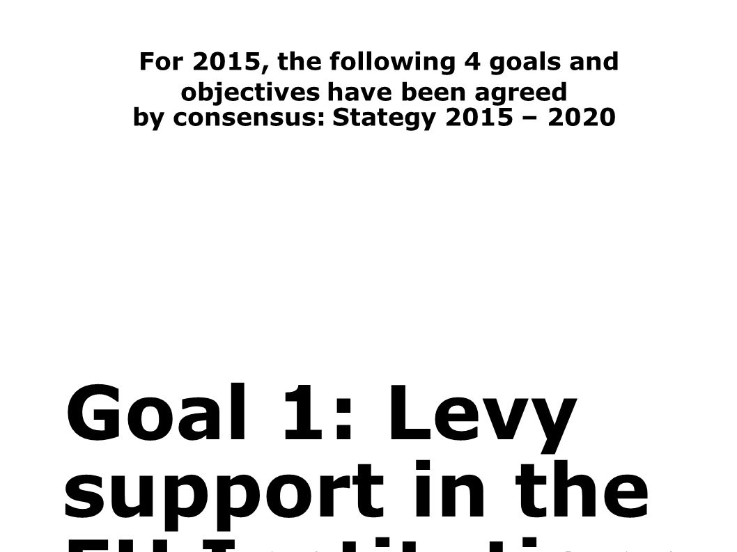 For 2015, the following 4 goals and objectives have been agreed by consensus: Stategy 2015 – 2020