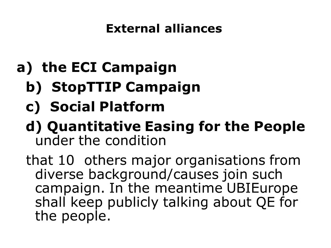 d) Quantitative Easing for the People under the condition