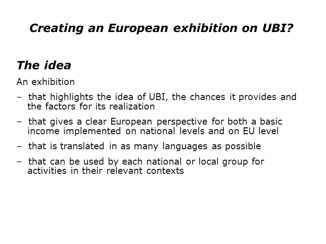 Creating an European exhibition on UBI