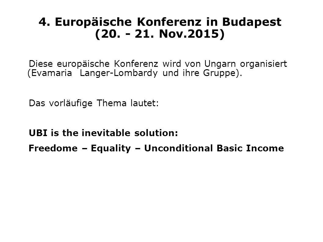4. Europäische Konferenz in Budapest (20. - 21. Nov.2015)
