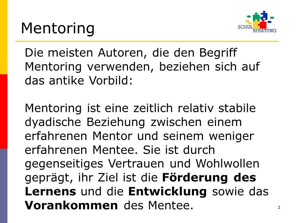 Mentoring Die meisten Autoren, die den Begriff Mentoring verwenden, beziehen sich auf das antike Vorbild: