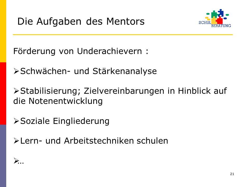 Die Aufgaben des Mentors