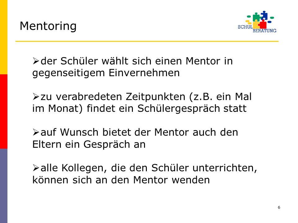 Mentoring der Schüler wählt sich einen Mentor in gegenseitigem Einvernehmen.