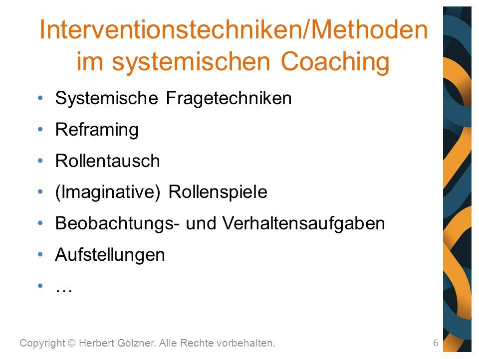 Interventionstechniken/Methoden im systemischen Coaching