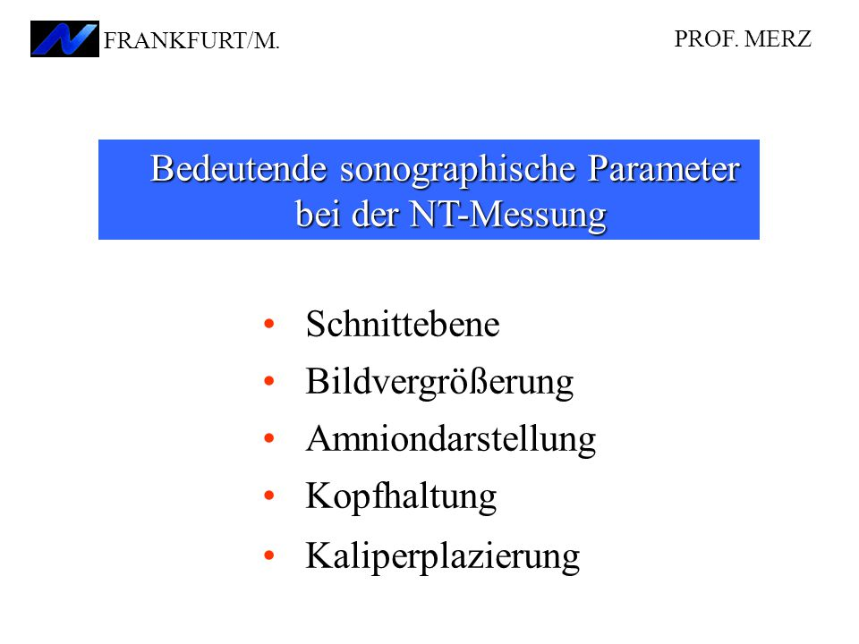 Bedeutende sonographische Parameter