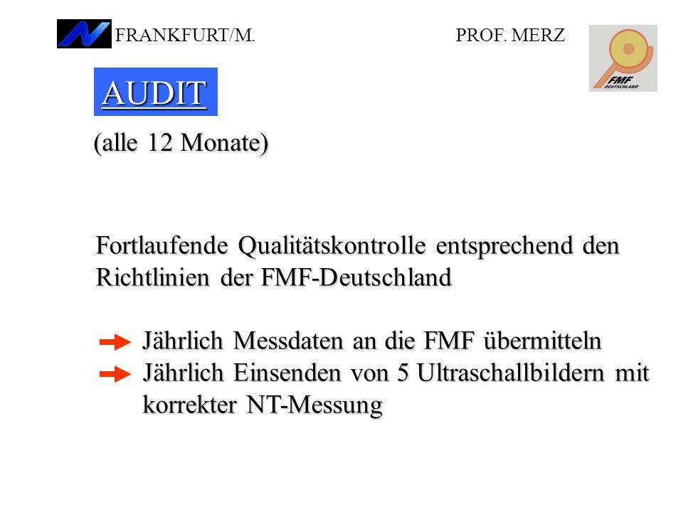 PROF. MERZ FRANKFURT/M. AUDIT. (alle 12 Monate) Fortlaufende Qualitätskontrolle entsprechend den.