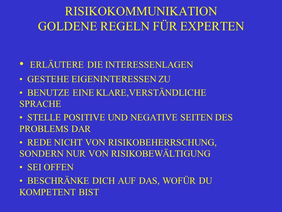 RISIKOKOMMUNIKATION GOLDENE REGELN FÜR EXPERTEN