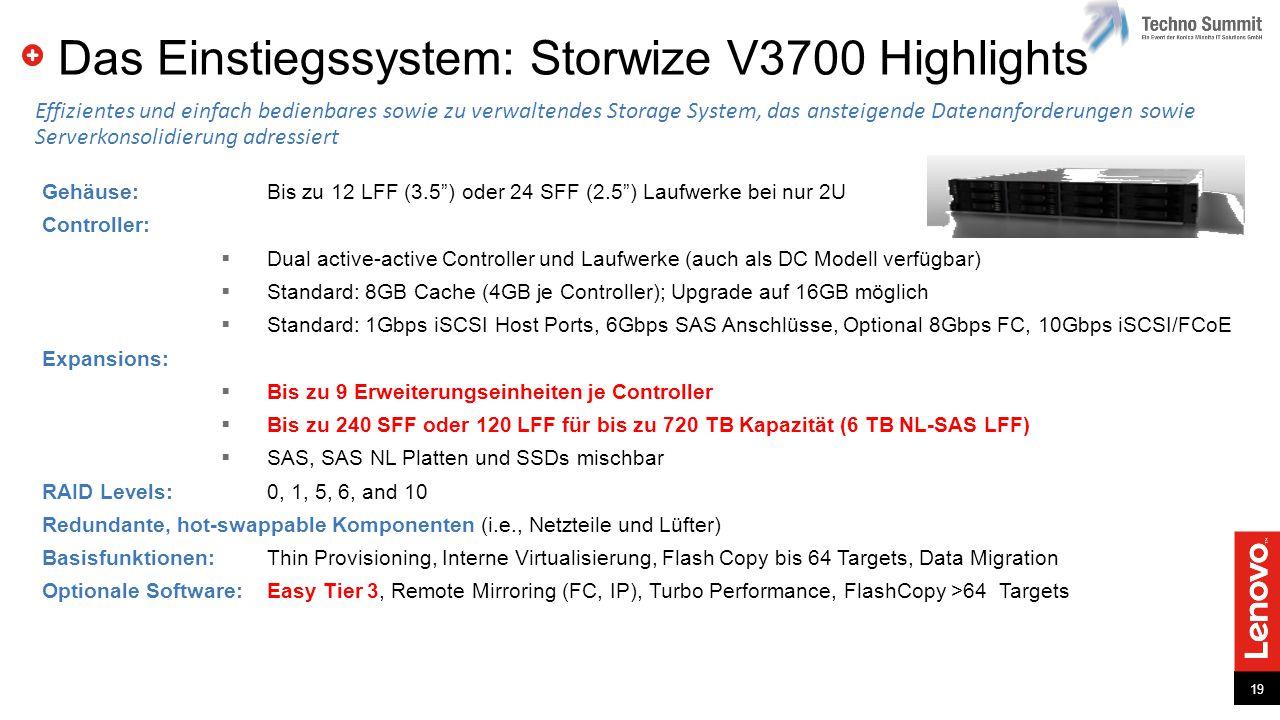 Das Einstiegssystem: Storwize V3700 Highlights