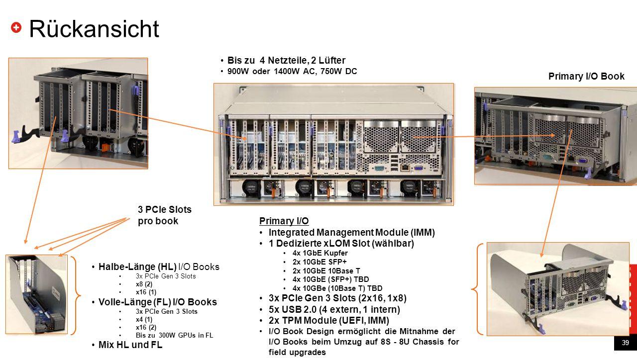 Rückansicht Bis zu 4 Netzteile, 2 Lüfter Primary I/O Book 3 PCle Slots