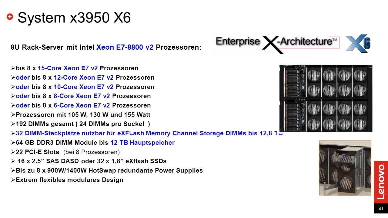 System x3950 X6 8U Rack-Server mit Intel Xeon E7-8800 v2 Prozessoren: