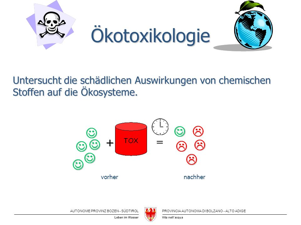 Ökotoxikologie Untersucht die schädlichen Auswirkungen von chemischen Stoffen auf die Ökosysteme. vorher.