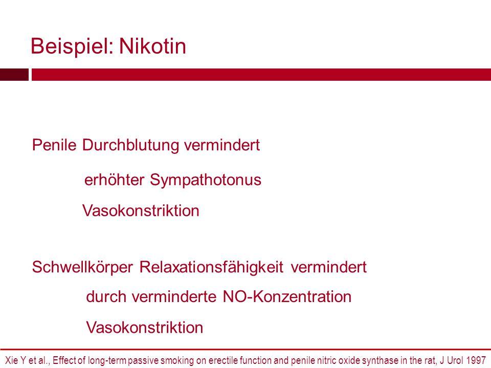Beispiel: Nikotin Penile Durchblutung vermindert
