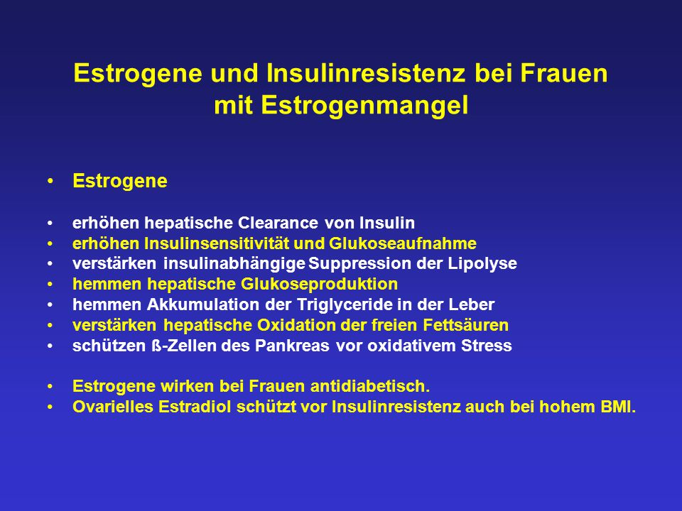 Estrogene und Insulinresistenz bei Frauen mit Estrogenmangel