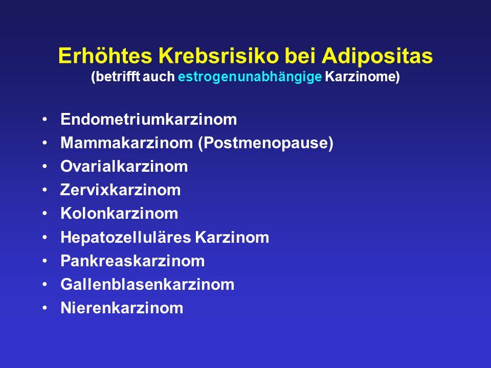 Erhöhtes Krebsrisiko bei Adipositas (betrifft auch estrogenunabhängige Karzinome)