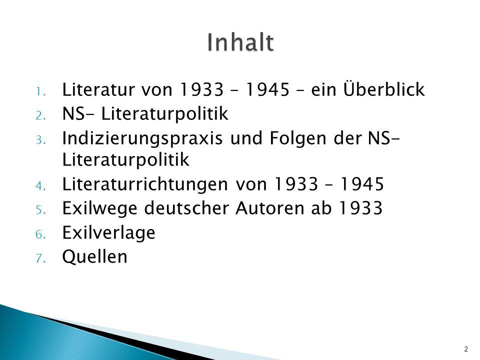 Inhalt Literatur von 1933 – 1945 – ein Überblick NS- Literaturpolitik
