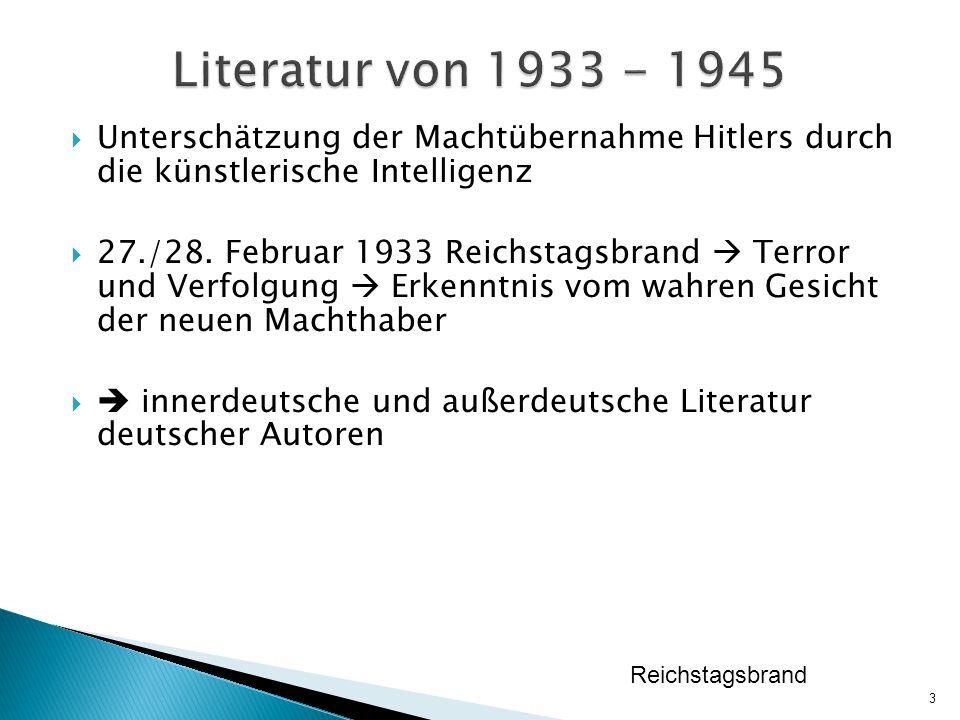 Literatur von 1933 - 1945 Unterschätzung der Machtübernahme Hitlers durch die künstlerische Intelligenz.