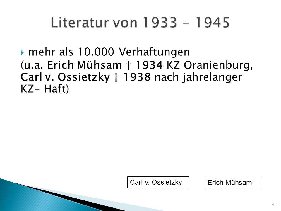 Literatur von 1933 - 1945 mehr als 10.000 Verhaftungen