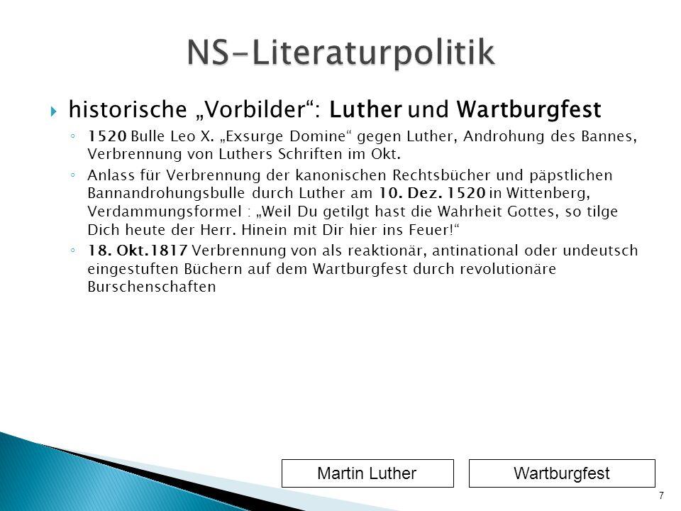 """NS-Literaturpolitik historische """"Vorbilder : Luther und Wartburgfest"""