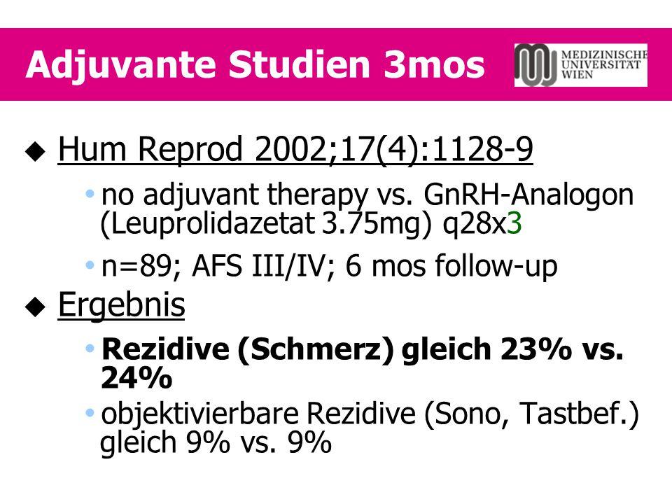 Adjuvante Studien 3mos Hum Reprod 2002;17(4):1128-9 Ergebnis