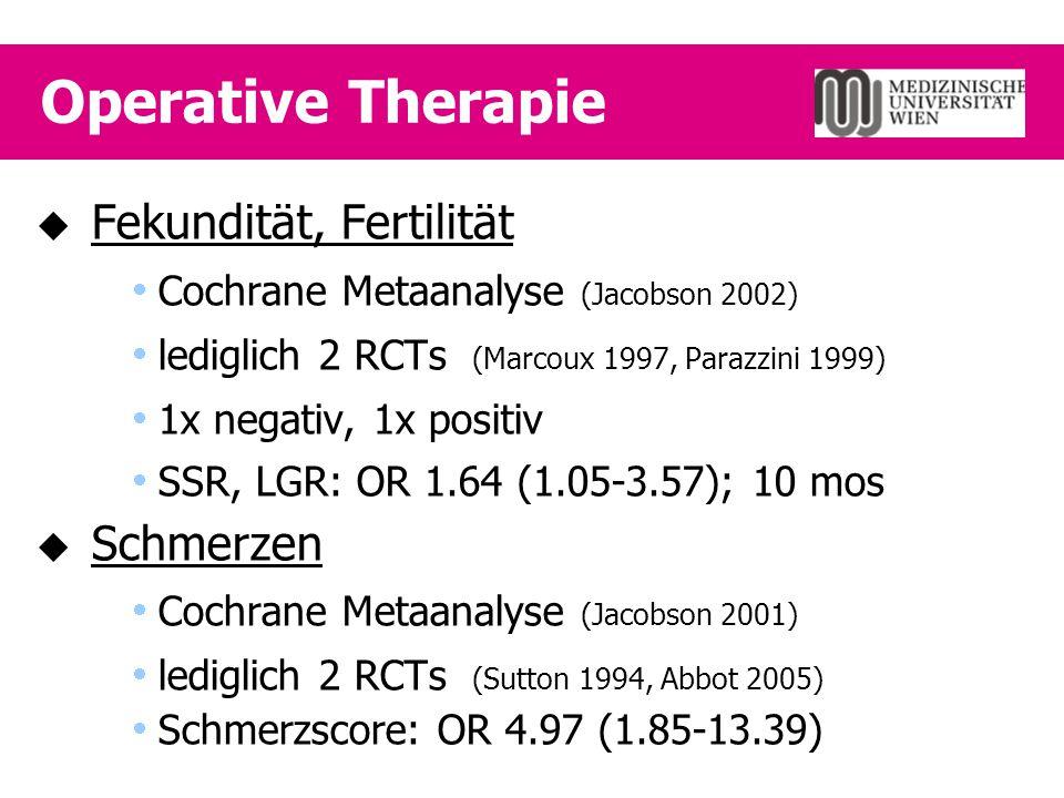 Operative Therapie Fekundität, Fertilität Schmerzen