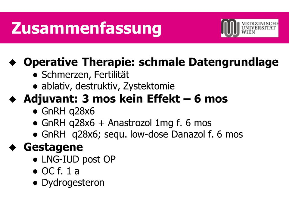 Zusammenfassung Operative Therapie: schmale Datengrundlage