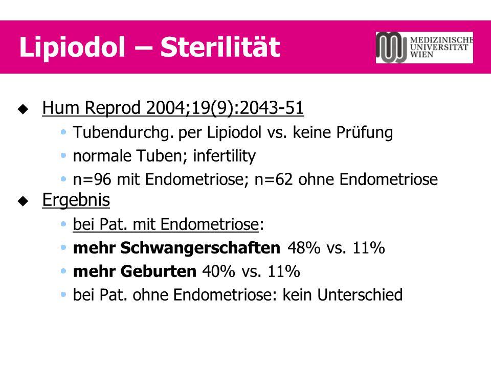 Lipiodol – Sterilität Hum Reprod 2004;19(9):2043-51 Ergebnis
