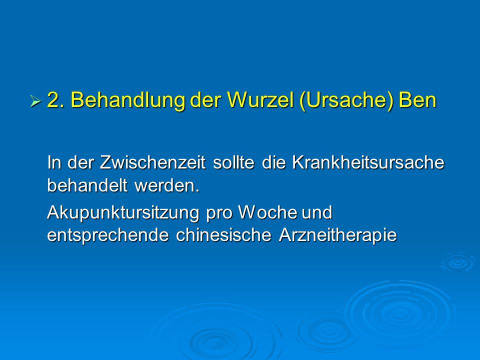 2. Behandlung der Wurzel (Ursache) Ben