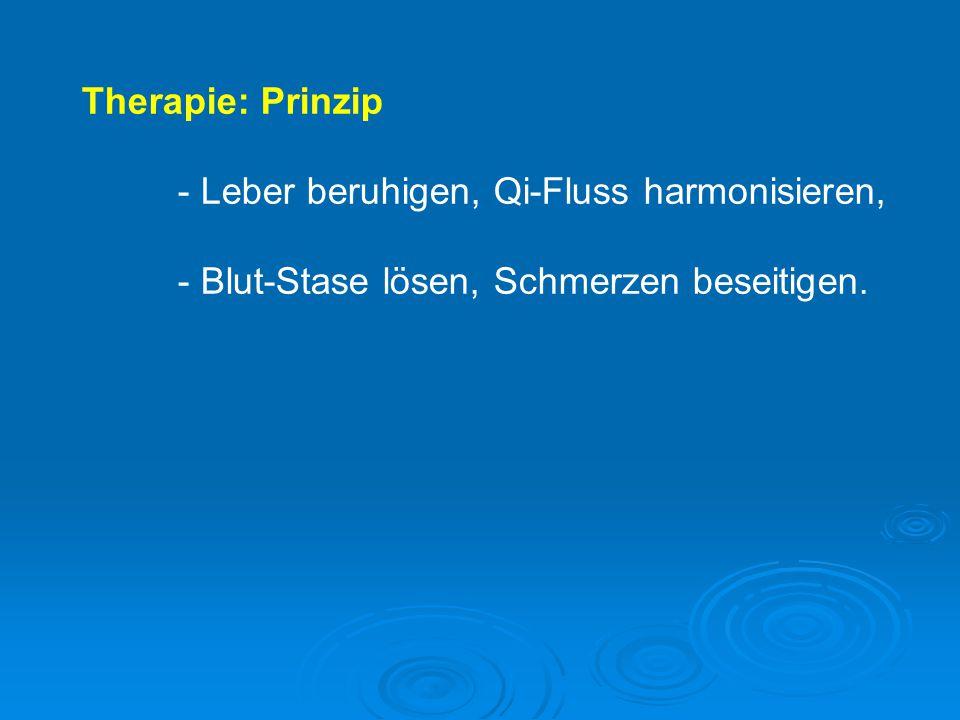 Therapie: Prinzip - Leber beruhigen, Qi-Fluss harmonisieren, - Blut-Stase lösen, Schmerzen beseitigen.