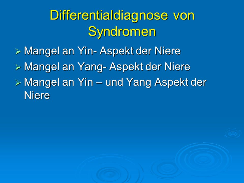 Differentialdiagnose von Syndromen