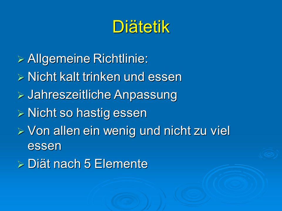 Diätetik Allgemeine Richtlinie: Nicht kalt trinken und essen