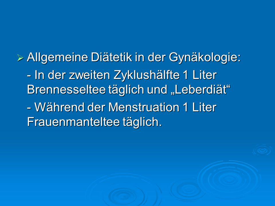 Allgemeine Diätetik in der Gynäkologie: