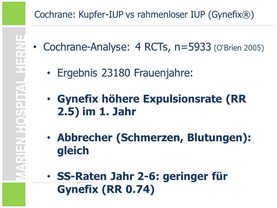 Cochrane-Analyse: 4 RCTs, n=5933 (O'Brien 2005)