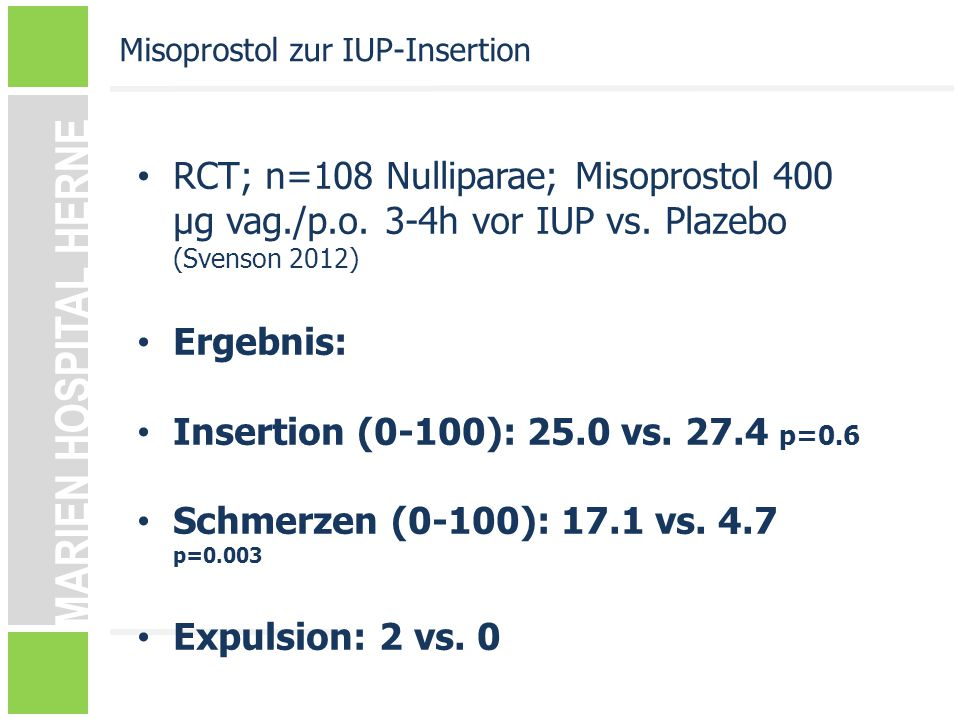 Misoprostol zur IUP-Insertion