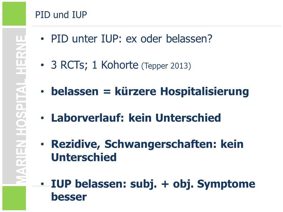 PID unter IUP: ex oder belassen 3 RCTs; 1 Kohorte (Tepper 2013)