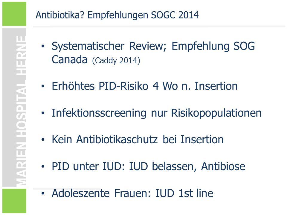 Systematischer Review; Empfehlung SOG Canada (Caddy 2014)