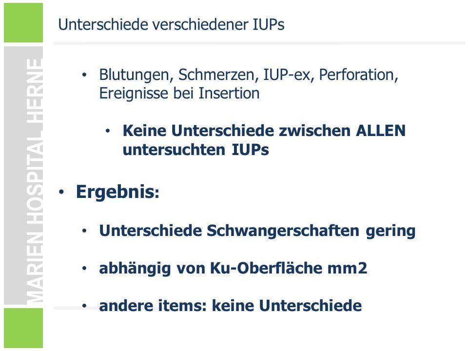 Ergebnis: Unterschiede verschiedener IUPs