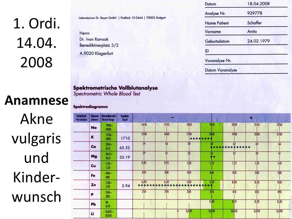 1. Ordi. 14.04. 2008 Anamnese Akne vulgaris und Kinder-wunsch
