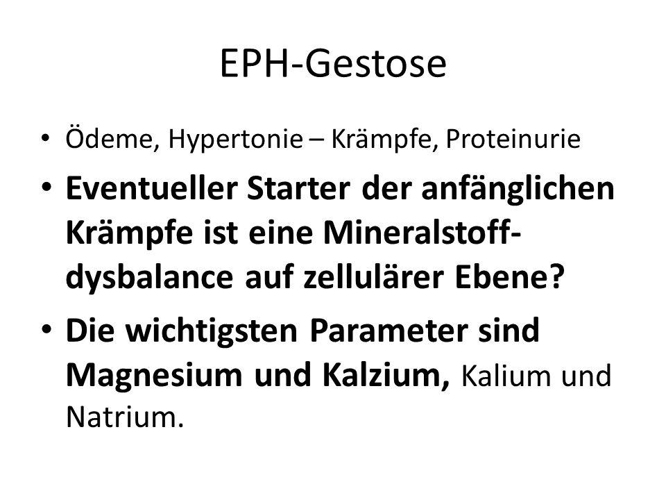 EPH-Gestose Ödeme, Hypertonie – Krämpfe, Proteinurie.