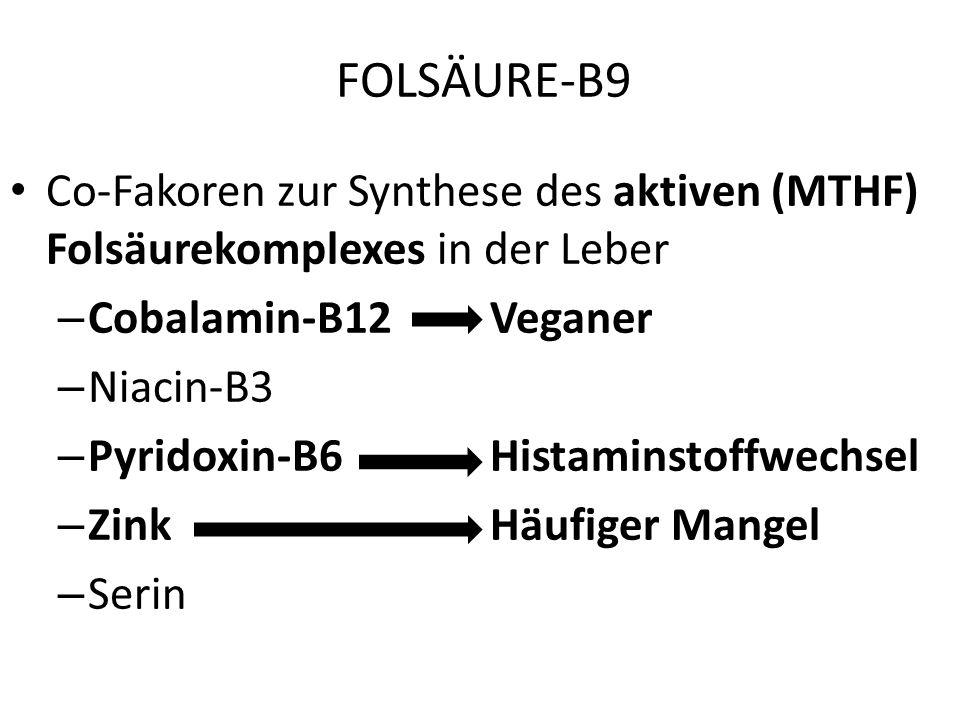 FOLSÄURE-B9 Co-Fakoren zur Synthese des aktiven (MTHF) Folsäurekomplexes in der Leber. Cobalamin-B12 Veganer.