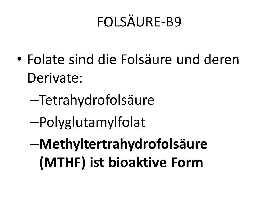 FOLSÄURE-B9 Folate sind die Folsäure und deren Derivate: Tetrahydrofolsäure. Polyglutamylfolat.