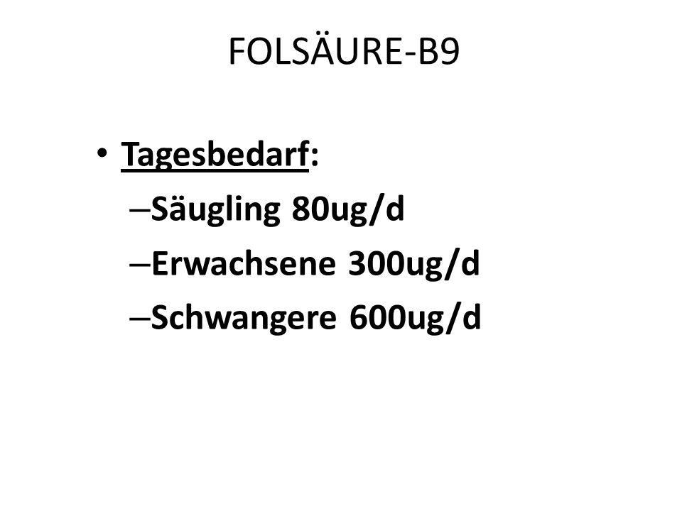 FOLSÄURE-B9 Tagesbedarf: Säugling 80ug/d Erwachsene 300ug/d