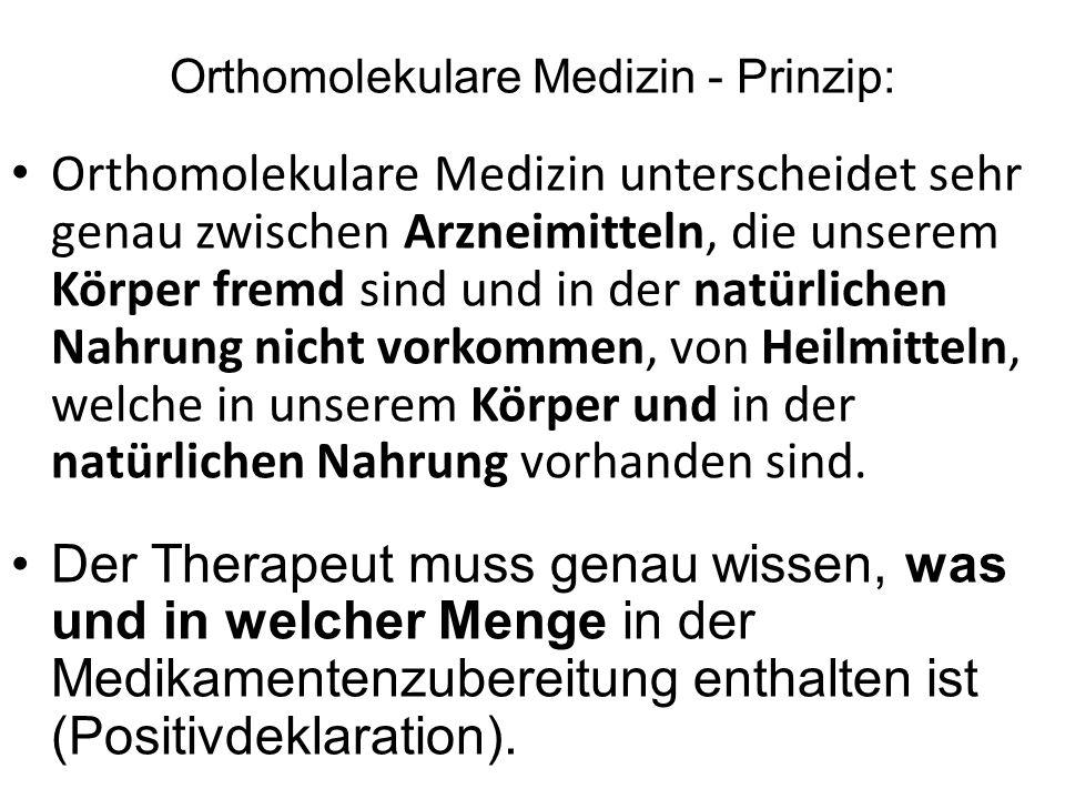 Orthomolekulare Medizin - Prinzip: