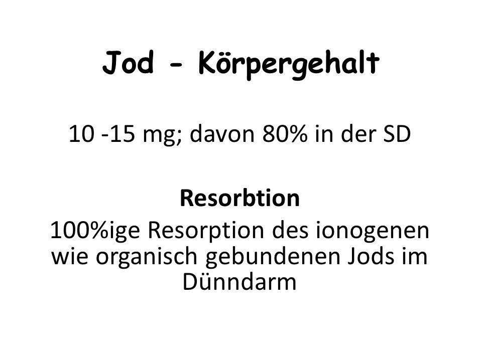Jod - Körpergehalt 10 -15 mg; davon 80% in der SD Resorbtion