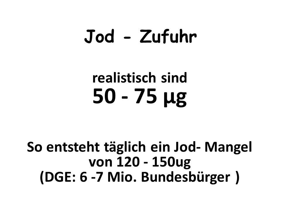 Jod - Zufuhr realistisch sind 50 - 75 μg