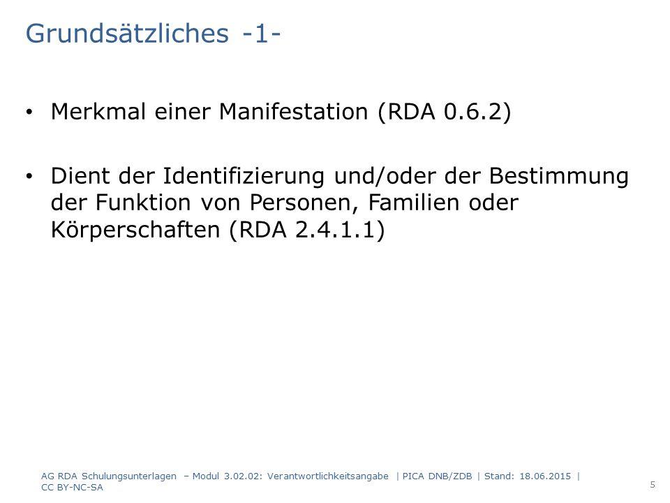 Grundsätzliches -1- Merkmal einer Manifestation (RDA 0.6.2)