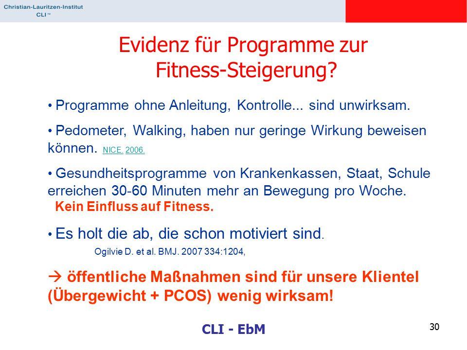Evidenz für Programme zur Fitness-Steigerung