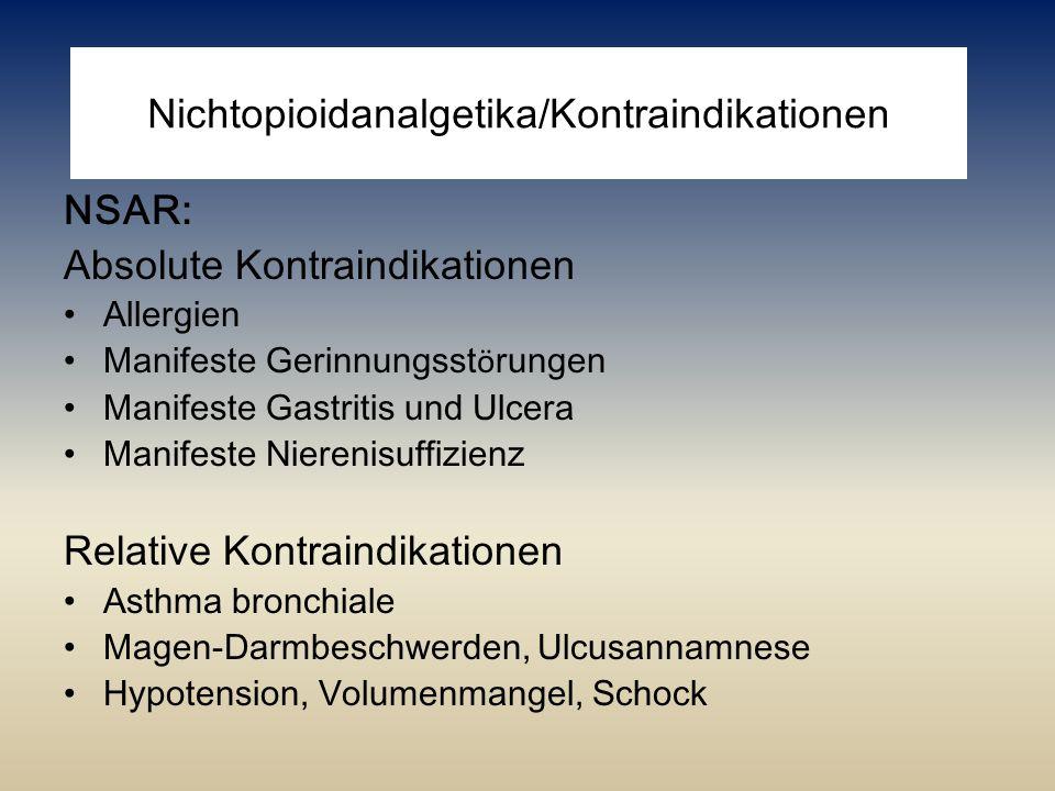 Nichtopioidanalgetika/Kontraindikationen