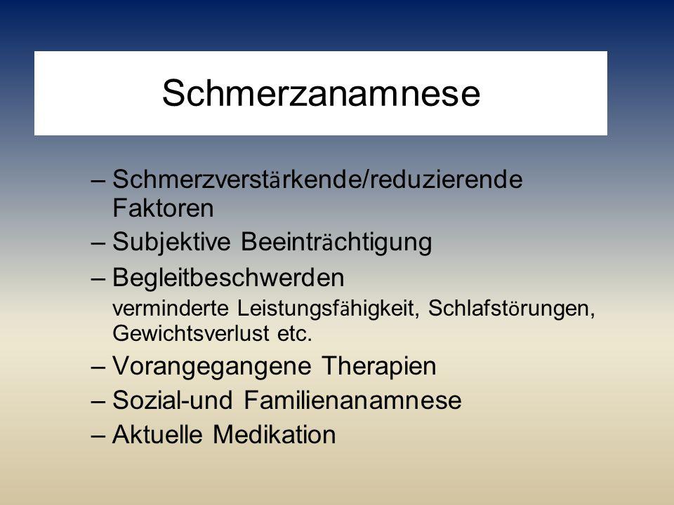 Schmerzanamnese Schmerzverstärkende/reduzierende Faktoren