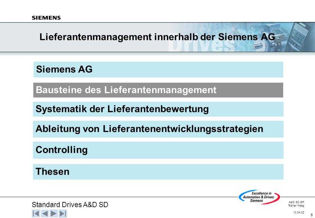 Lieferantenmanagement innerhalb der Siemens AG