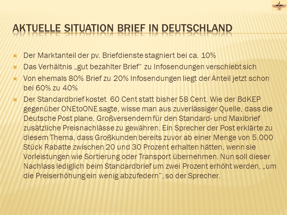 Aktuelle Situation Brief in Deutschland